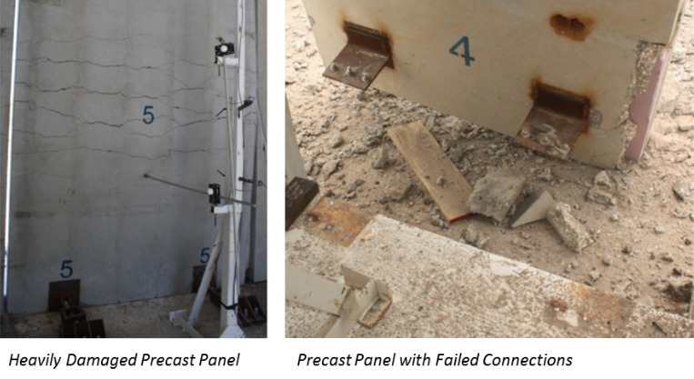 Figure 2. Observed Damage to Test Panels from Blast Loads