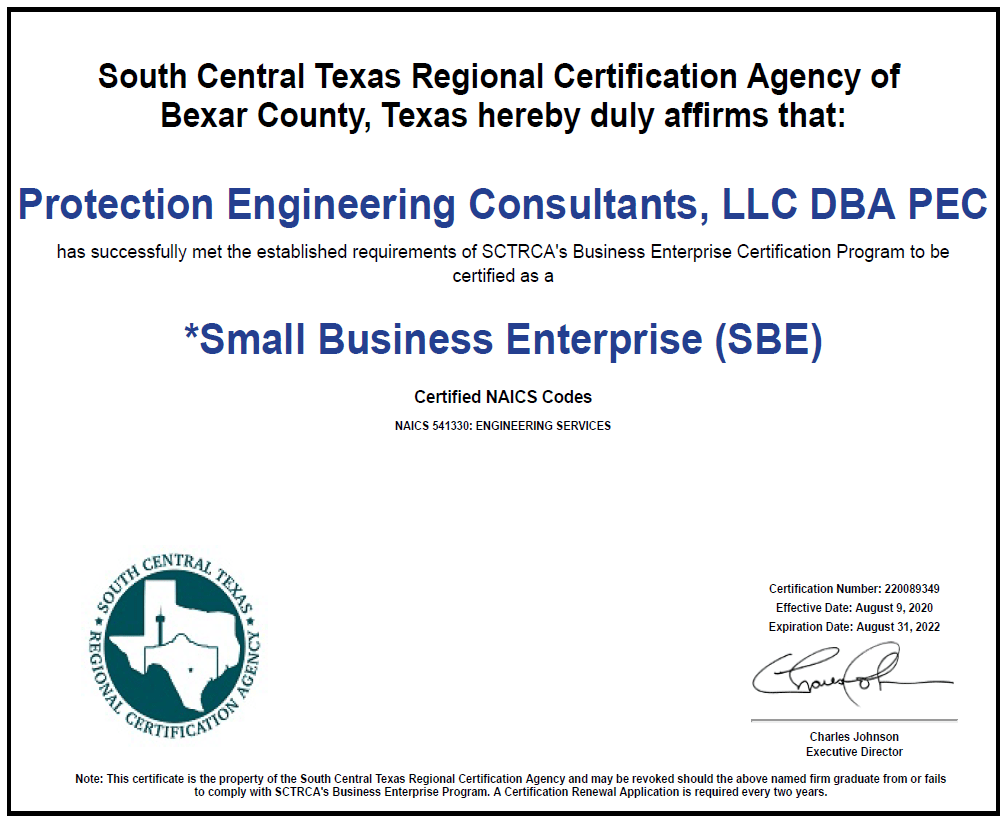 Protection Engineering Consultants Small Business Enterprise (SBE)